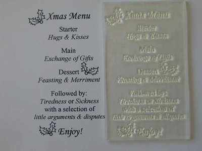 Christmas Menu, verse stamp