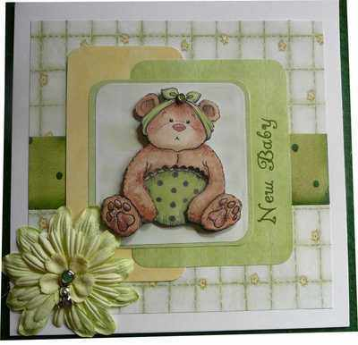 Handmade New Baby Card, little bear