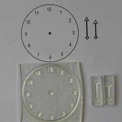 Clock Stamp, clear stamp with numbers and hands