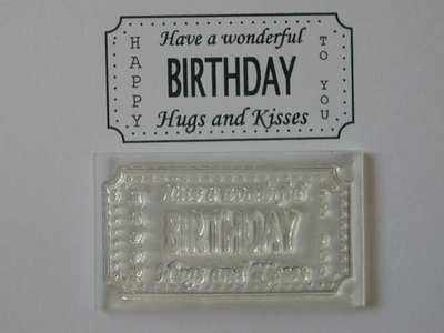 Birthday Ticket stamp to fit Tim Holtz die, Hugs and Kisses