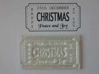 Christmas Ticket stamp to fit Tim Holtz die, Peace and Joy