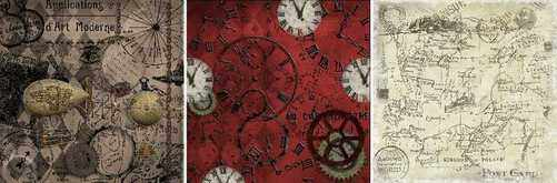 vintage papers for men, clocks, steampunk, maps