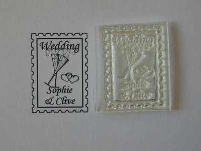Wedding postage stamp to personalise, glasses