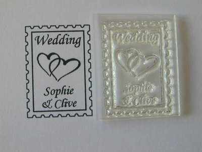 Wedding postage stamp to personalise, hearts