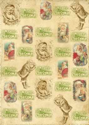 Vintage Santa Christmas digi backing paper