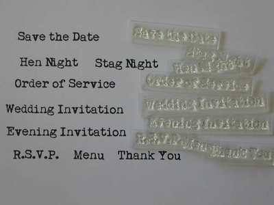 typewriter font Wedding Invitation stamps, set of 9
