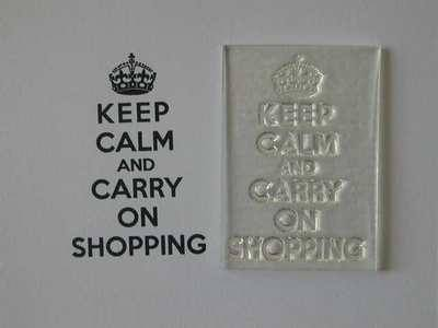 Keep Calm and Carry On Shopping, stamp