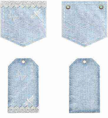 Light denim and lace pockets with tags for girls
