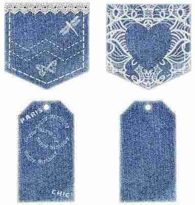 Dark denim and lace pockets with tags for girls