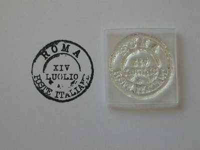 Vintage postmark stamp, Italy Rome