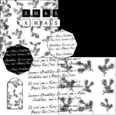 Black and White Christmas Digi Kit