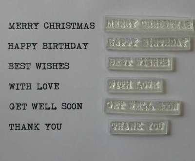 Typewriter font clear stamps, sentiment set