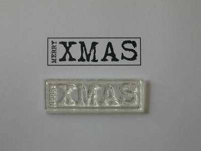 Typewriter font Merry Xmas label