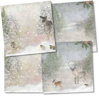 Christmas Backing papers, deer in snow