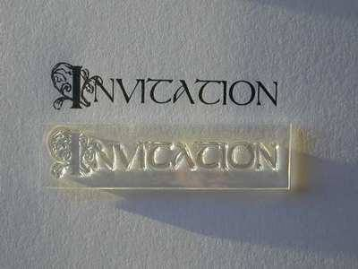 Invitation, decorative text stamp