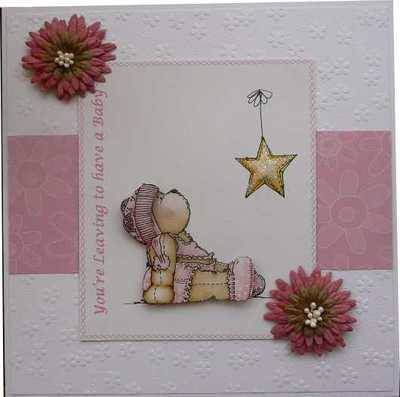 Leaving to Have a Baby, Handmade pink teddy card