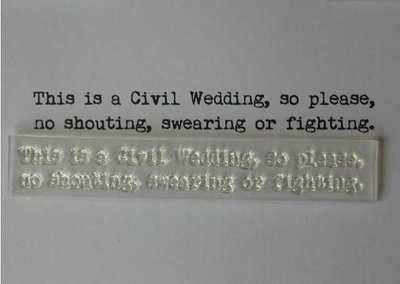 Civil Wedding, fun verse, typewriter font