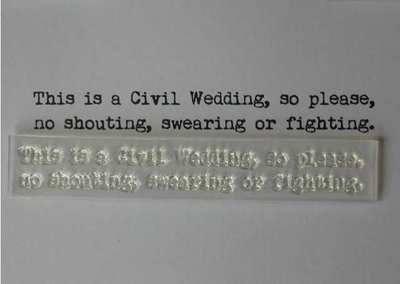 Civil Wedding, fun verse, typewriter font