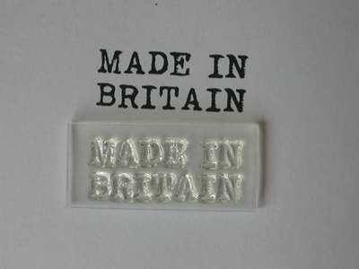 Made in Britain stamp, typewriter font
