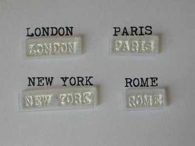 Cities stamps, typewriter font