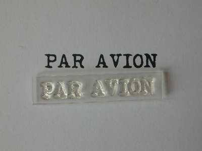 Par Avion stamp, typewriter font