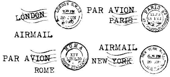 Cities Stamps London Paris New York Rome Typewriter Font