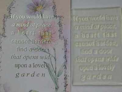 A lovely garden, verse stamp
