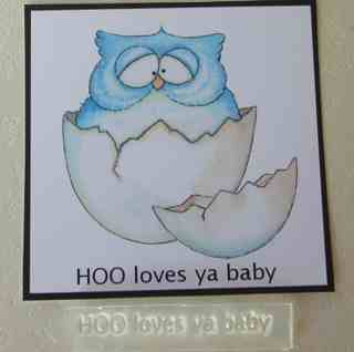 HOO loves ya baby, text stamp for owl