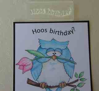 Hoos Birthday? owl stamp