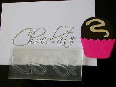 Chocolate, script stamp
