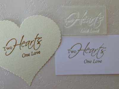 Two Hearts one love, text stamp