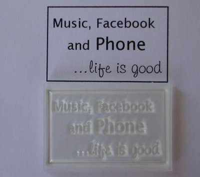 Music, Facebook and Phone, framed