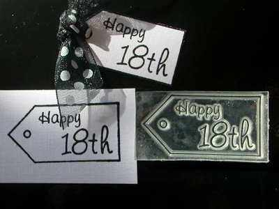 Tag stamp, Happy 18th