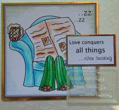 Love conquers all things ...even snoring, fun text stamp