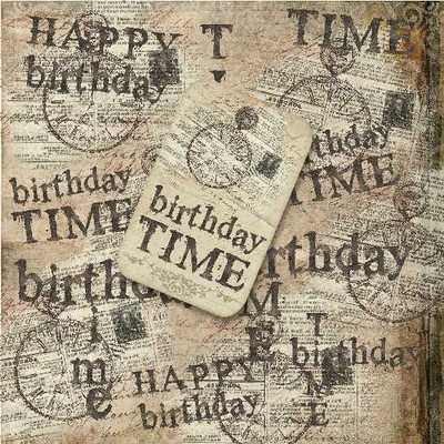 Birthday Time clock digi paper