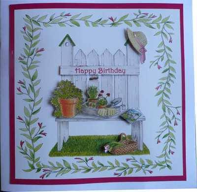 Birthday Card, Garden Bench, Handmade