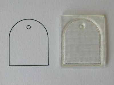 Small blank round top tag, clear stamp
