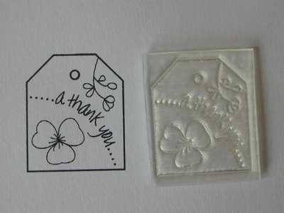 A Thank You, tag stamp with flower