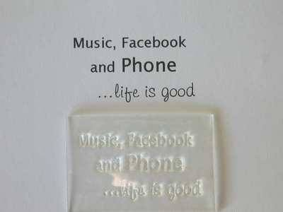 Music, Facebook and Phone, clear stamp