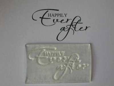 Happily Ever After, script wedding stamp