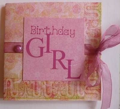 Voucher Birthday Girl card, Pink
