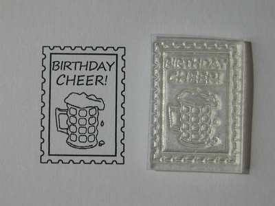 Birthday Cheer postage stamp, beer glass