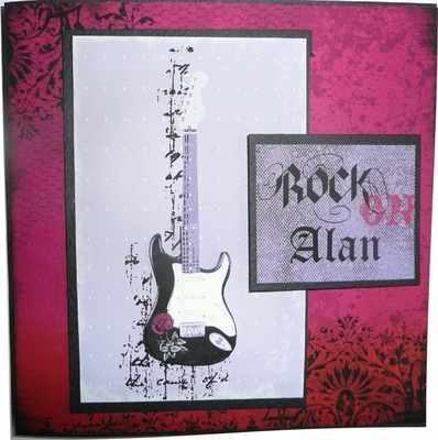 Rock On, guitar card, handmade