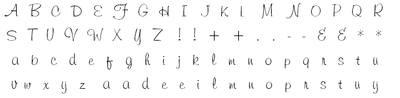 Freehand font alpha stamp set