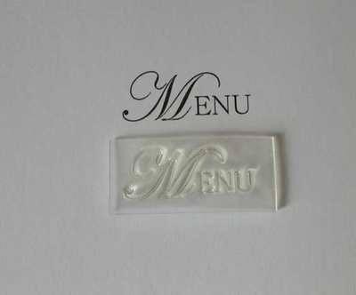 Menu, upper case stamp
