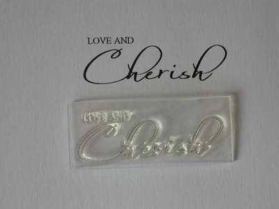 Love and Cherish, script wedding stamp