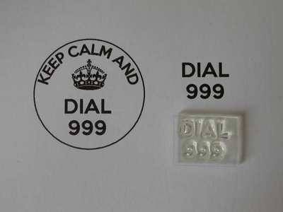 Dial 999, for Keep Calm and, stamp