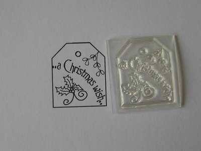 A Christmas Wish, tag stamp with holly