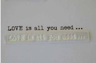 Love is all you need stamp, typewriter font