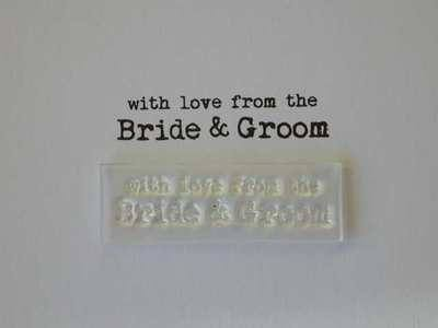 With love from the Bride and Groom, typewriter stamp